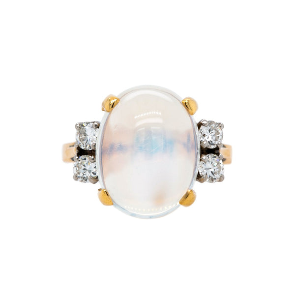 Stillson | Dreamy Retro Era 14K Yellow Gold, Diamond And Moonstone Cocktail Ring