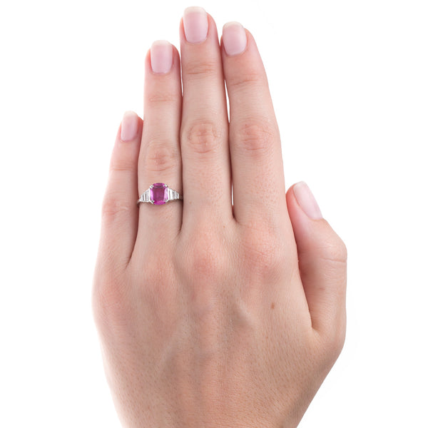 Stunning Geometric Cushion Cut Pink Sapphire Ring | Stonewood from Trumpet & Horn