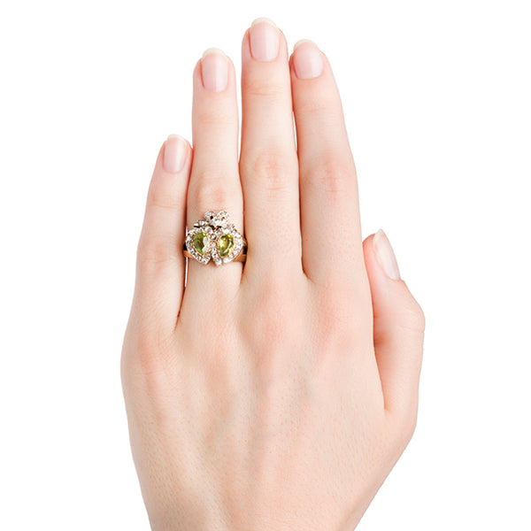 Strasburg Vintage Peridot Diamond Halo Heart Cocktail Ring from Trumpet & Horn