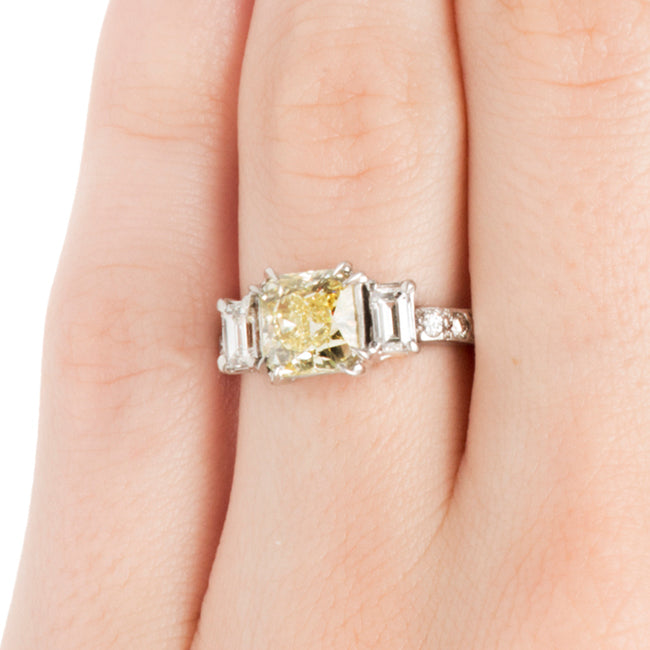 Modern 3 Stone Yellow Diamond Wedding Ring Order Now Trumpet Horn