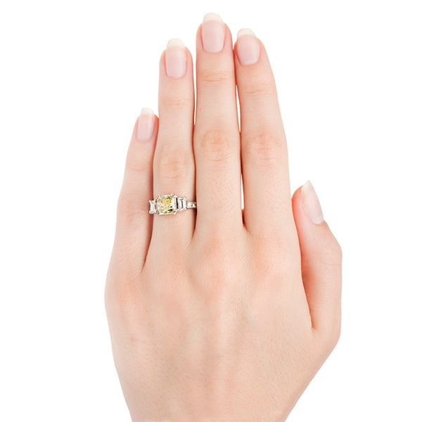 Sunny Springs Vintage Fancy Yellow Diamond Engagement Ring from Trumpet & Horn