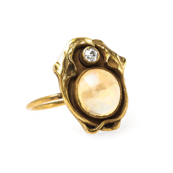 Art Nouveau Stickpin Ring with Contra Luz Opal | Swan Hill from Trumpet & Horn