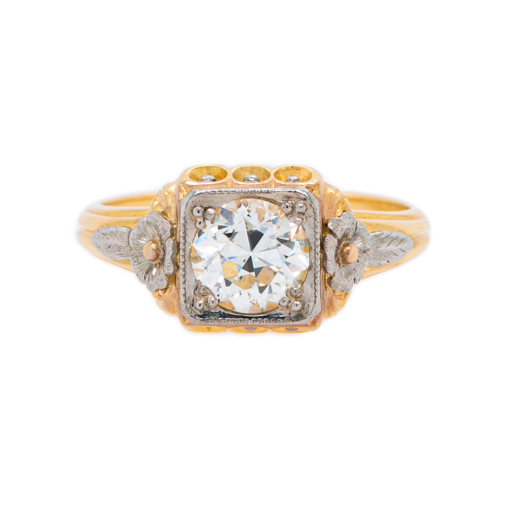 Art Nouveau Mixed Metal Diamond Engagement Ring | Sycamore Square
