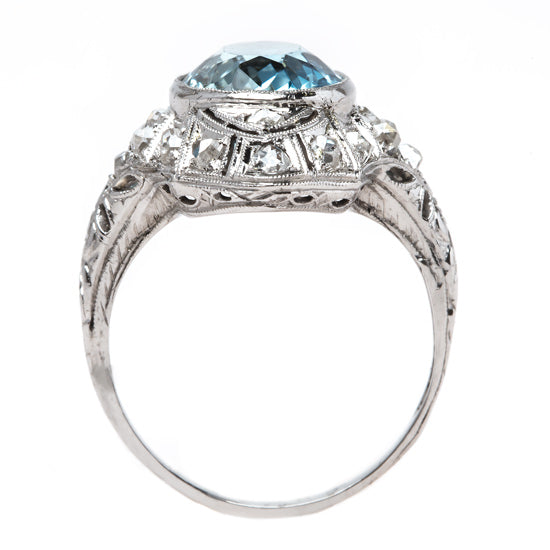 Alluring Navette Style Cocktail Ring with Ocean Blue Aquamarine | Tahiti from Trumpet & Horn