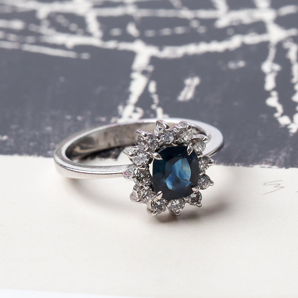 Delightful Halo Engagement Ring with Natural Deep Blue Oval Sapphire | Tamworth from Trumpet & Horn