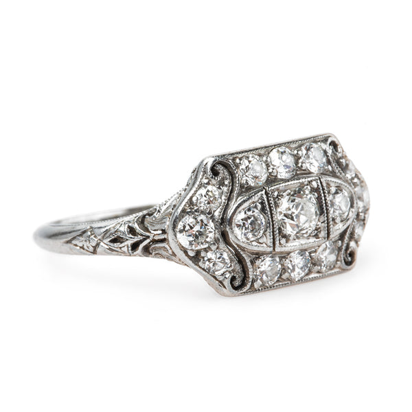 Beautifully Crafted Edwardian Era Platinum and Diamond Engagement Ring | Thacher from Trumpet & Horn
