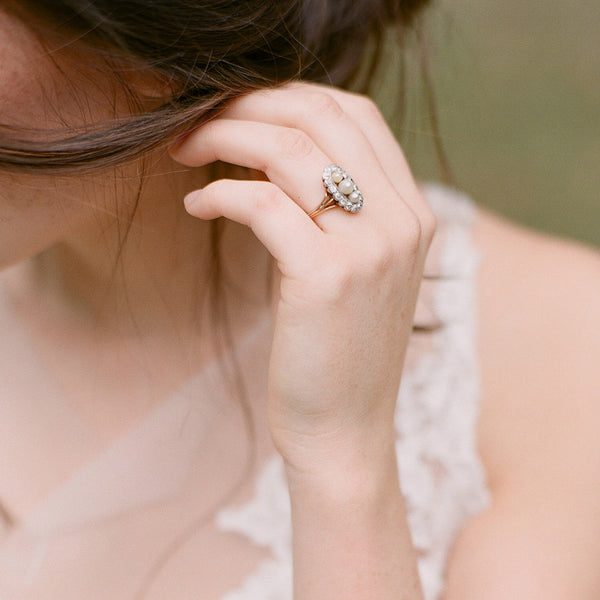 Unique Edwardian Pearl Engagement Ring | Whitely | Photo by The Happy Bloom
