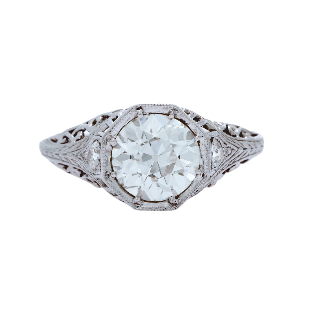 A Romantic Edwardian Platinum and EGL Certified Diamond Engagement Ring