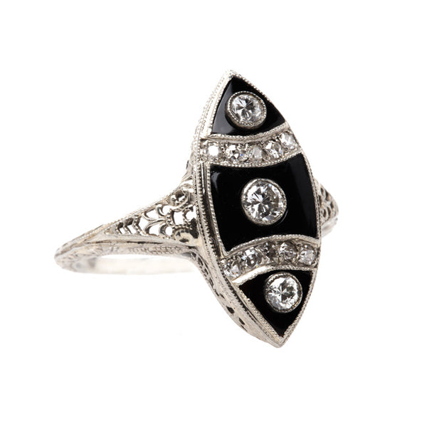 Late Art Deco Ring with Black Onyx and Diamonds | Thornton from Trumpet & Horn