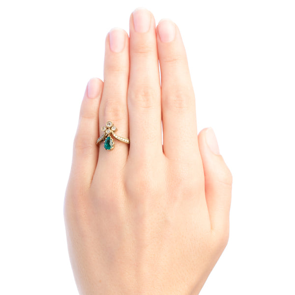 Vintage inspired emerald tiara ring from Trumpet & Horn