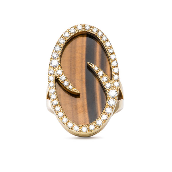 Vintage Jewelry | Estate Jewelry | Oval Tiger Eye and Diamond Ring from Trumpet & Horn