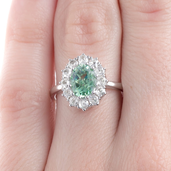 Perfectly Proportioned Tourmaline and Diamond Halo Ring | Braswell from Trumpet & Horn