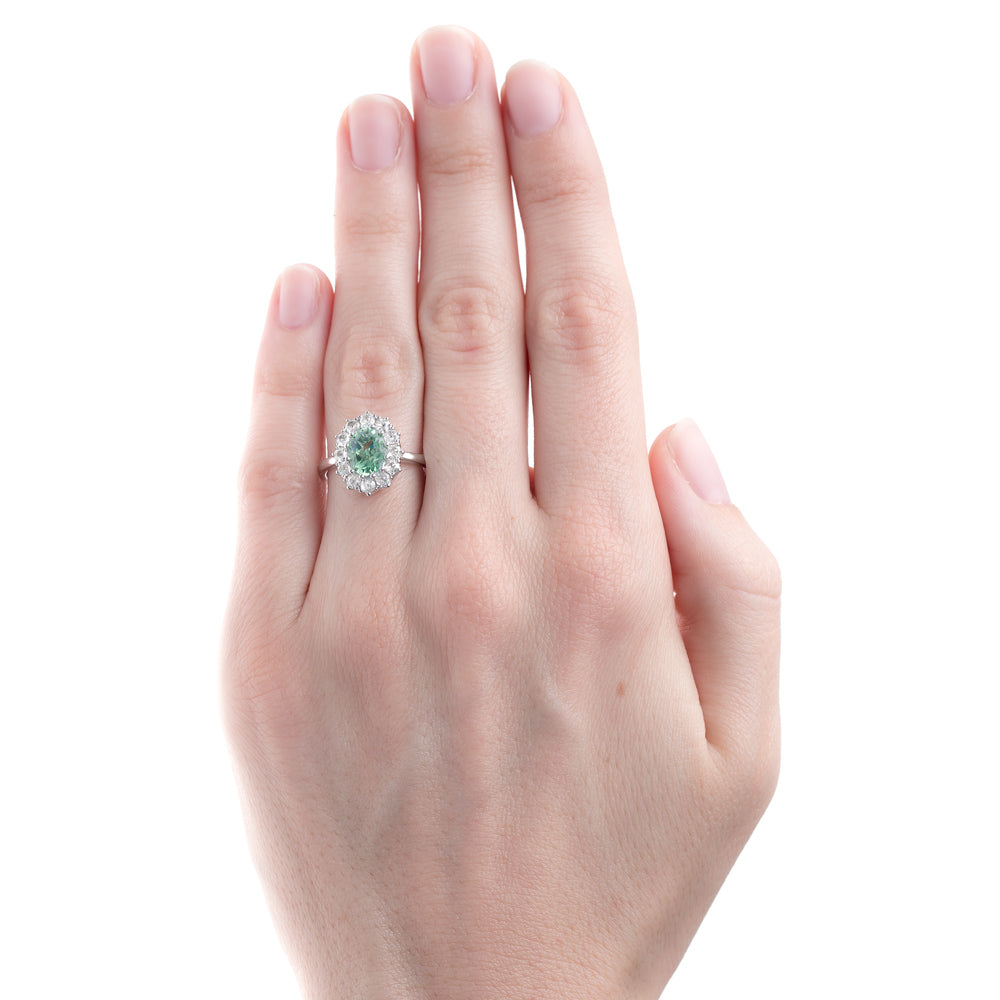 Perfectly Proportioned Tourmaline and Diamond Halo Ring   Braswell ...