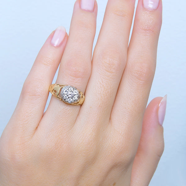 A Charming Vintage Two-Tone Diamond Cluster Ring | Trently