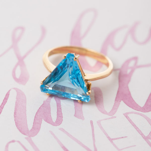 Triangular Blue Topaz Cocktail Ring | San Lucas from Trumpet & Horn
