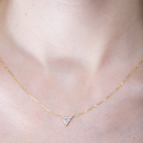 Sweet and Simple Triangle Cut Diamond Necklace | Trifecta Necklace at Trumpet & Horn
