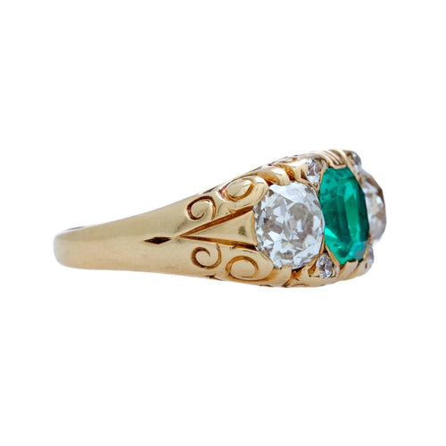 A Magnificent Victorian Era AGL Certified Colombian Emerald and Diamond Engagement Ring
