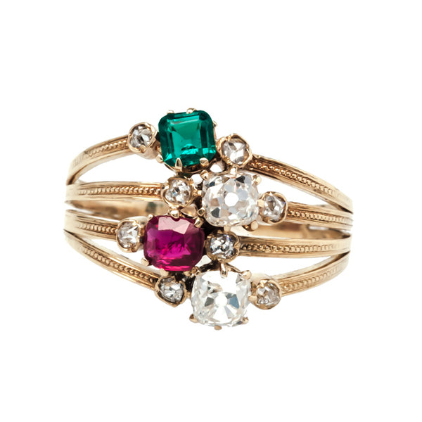 Ash Ridge antique Victorian diamond, emerald, and ruby ring from Trumpet & Horn