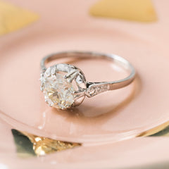 Regal Late Art Deco Era Ring Fit for a Queen! | Whiteleaf from Trumpet & Horn