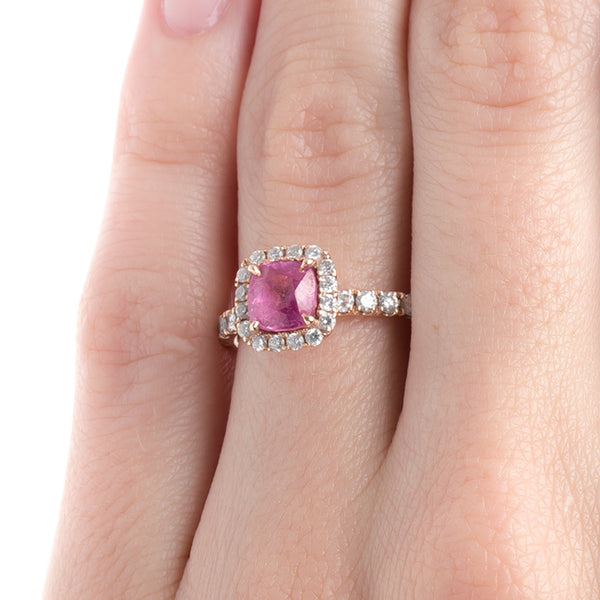 Contemporary Bubblegum Pink Sapphire and Diamond Halo Engagement Ring | Eureka Springs from Trumpet & Horn