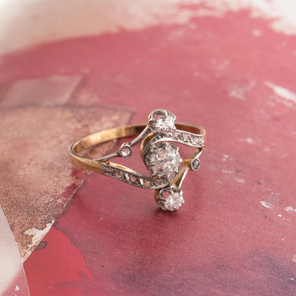 Authentic Edwardian Era Engagement Ring with Old Mine Cut Diamonds | Vail from Trumpet & Horn