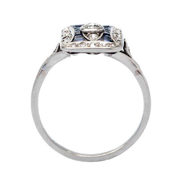 Vanderbilt Edwardian diamond and sapphire engagement ring from Trumpet & Horn
