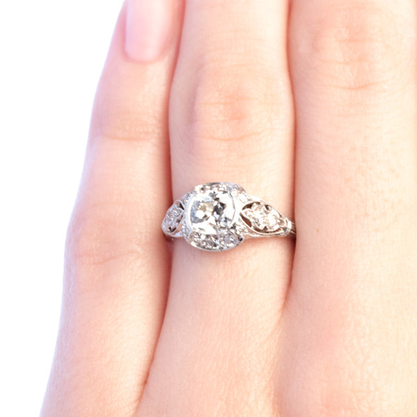 Vassar Vintage Edwardian Era Engagement Ring with Old Mine Cushion Brilliant Cut Diamond from Trumpet & Horn