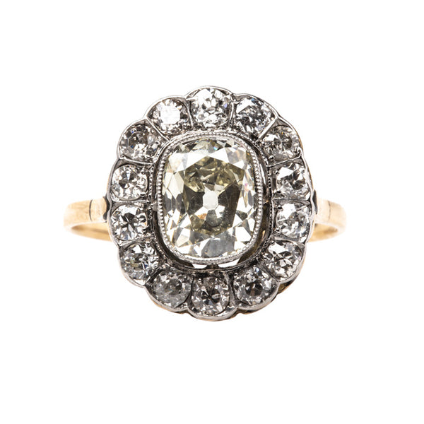 Radcliffe Victorian Era Engagement Ring with Scalloped Halo of Old European Cut Diamonds | Trumpet & Horn