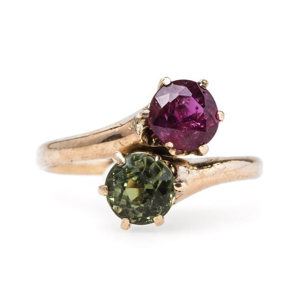 Victorian Era Moi et Toi Ring with Ruby and Green Sapphire | Everglades from Trumpet & Horn