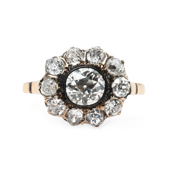 Stunning Victorian Era Cluster Engagement Ring with Glittering Diamond Halo | Ojai from Trumpet & Horn