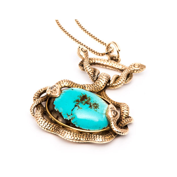 Victorian Turquoise Snake Pendant