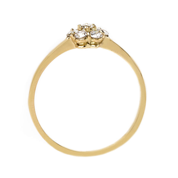 Adorable Modern Era Diamond Flower Ring | Viewpoint from Trumpet & Horn
