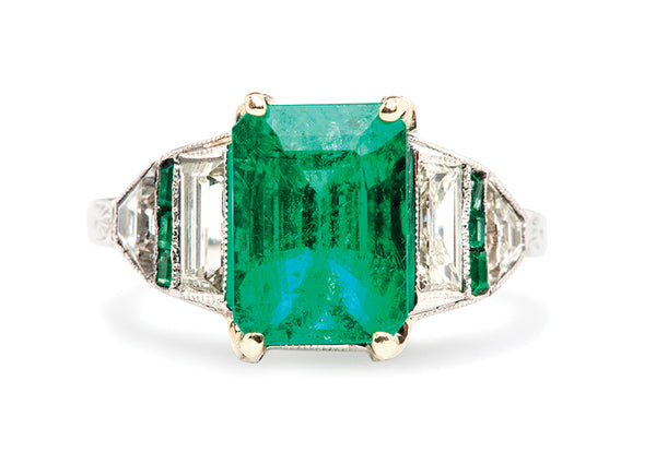 Vintage Emerald Diamond Engagement Ring | Art Deco Emerald Cocktail Ring