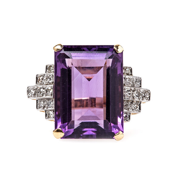 Show-Stopping Amethyst Cocktail Ring with Diamond Accents | Boca Raton from Trumpet & Horn
