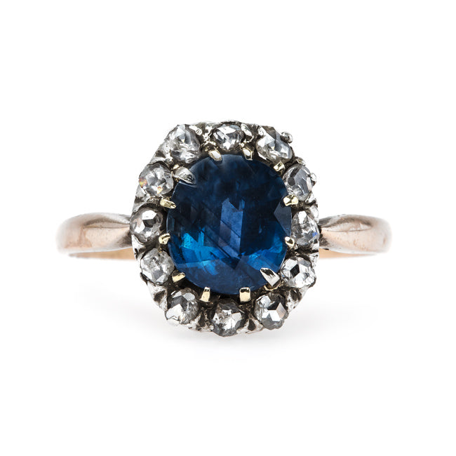 Dignified Sapphire Engagement Ring with Rose Cut Diamond Halo | Oak Glen from Trumpet & Horn