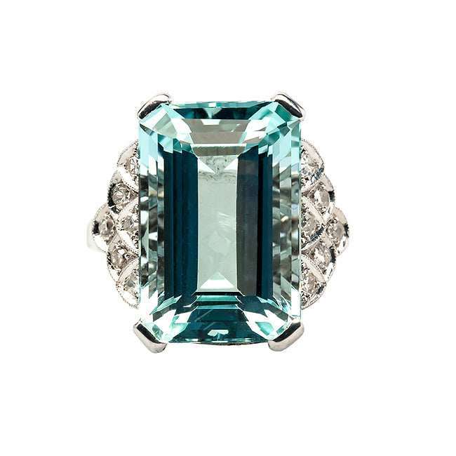 Valley Falls vintage Art Deco aquamarine and diamond ring from Trumpet & Horn