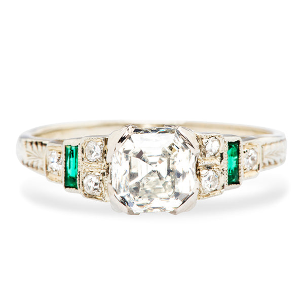 Vintage Emerald Diamond Engagement Ring | Art Deco Emerald Diamond Engagement Ring
