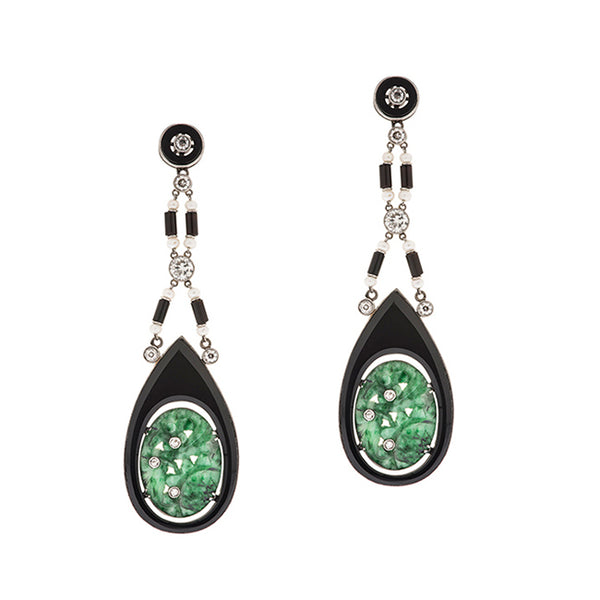 Art Deco Jade, Diamond, & Onyx Earrings