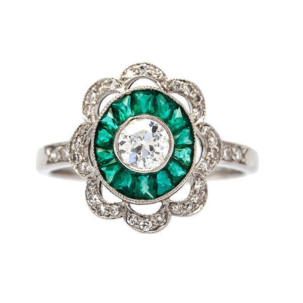 Mount Vernon vintage Art Deco emerald and diamond engagement ring from Trumpet & Horn