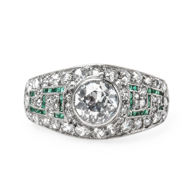 Fabulous Art Deco Bombe Style Engagement Ring with Emerald Pattern | Balboa Park from Trumpet & Horn