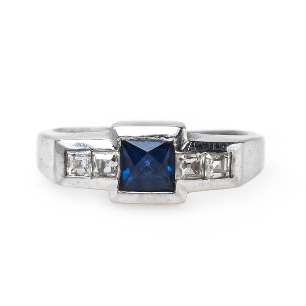 Exemplary Geometric Art Deco Sapphire Engagement Ring with Diamond Accents | Coolidge from Trumpet & Horn