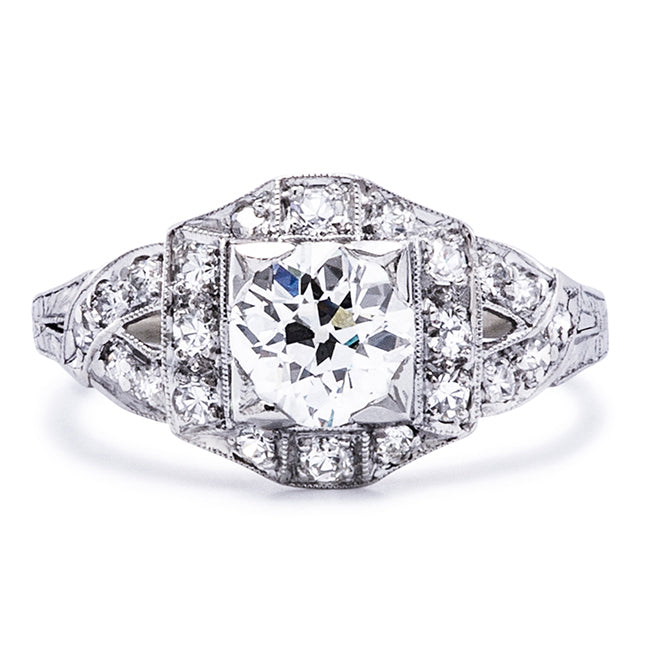 vintage art deco halo engagement ring