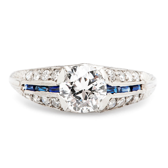 Art Deco Diamond Sapphire Engagement Ring | Quincy