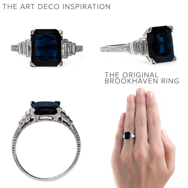 Deeply Saturated Navy Sapphire Engagement Ring | Brookhaven from Trumpet & Horn