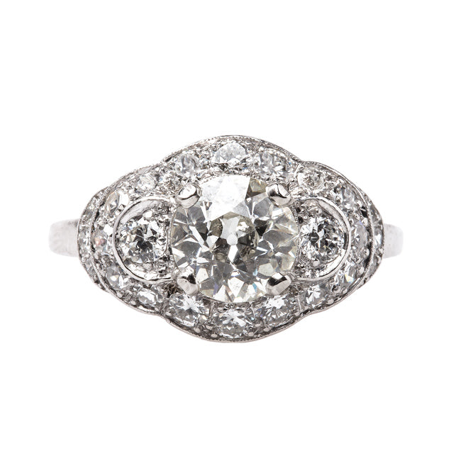 Classic Art Deco Three Stone Halo Ring with Old European Cut Diamond | Temecula from Trumpet & Horn