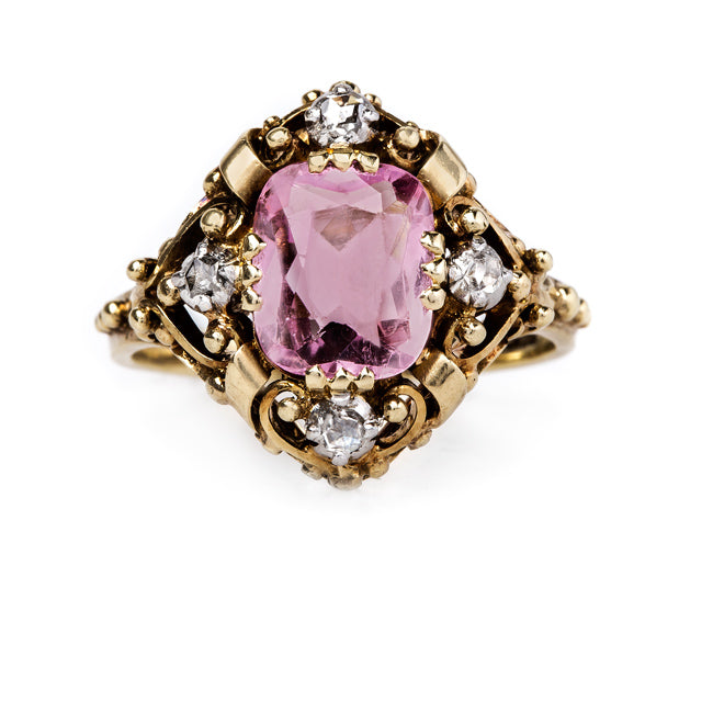 Feminine Art Nouveau Ring with Cushion Cut Pink Tourmaline | Maidford from Trumpet & Horn