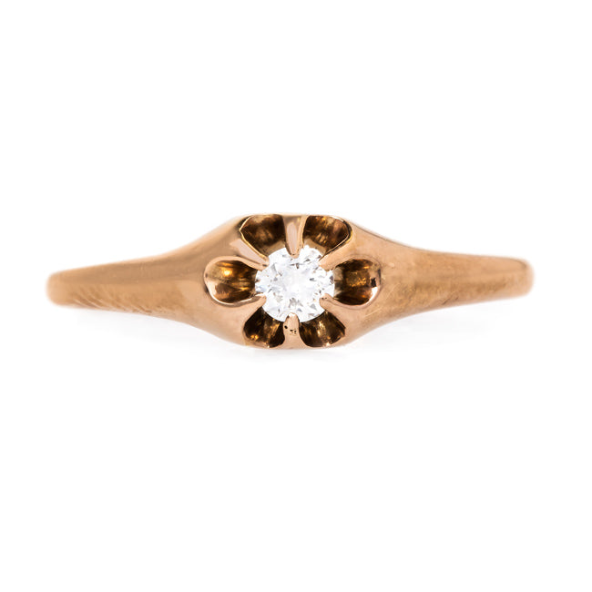 Petite Victorian Solitaire Ring in a Buttercup Setting | Westerly from Trumpet & Horn