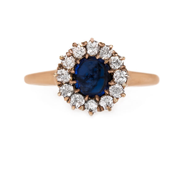 Vintage Victorian Era Sapphire Ring with Old Mine Cut Diamond Halo | Somerton from Trumpet & Horn