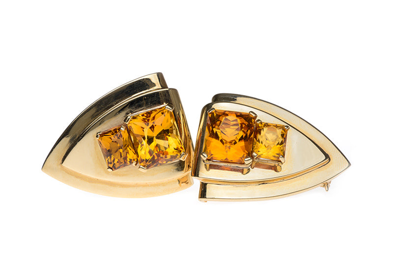 1940's Citrine & Gold Clip Earrings