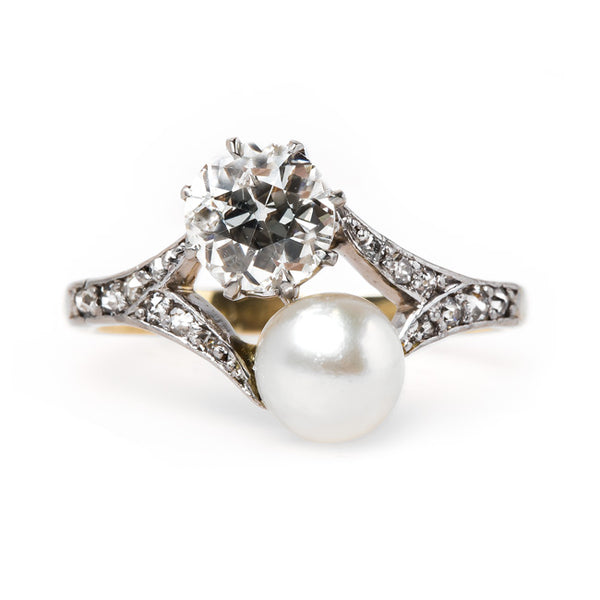 Delicate Diamond and Pearl Ring | Huckleberry from Trumpet & Horn